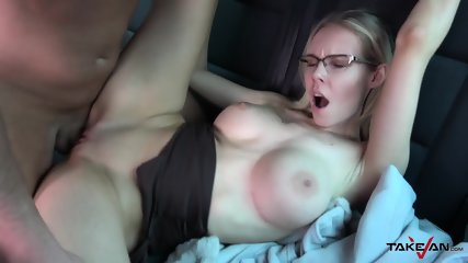TakeVan - Busty Blonde With Glasses Gets Creampied In Van