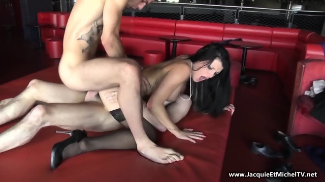 A crowd of men fry in her mouth hot brunette