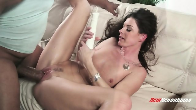 Big black dick gives pleasure burning brunette