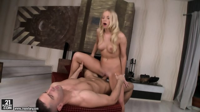 Blonde girl sticks his penis between the legs