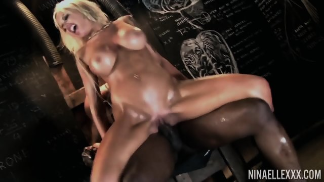 Blonde in jail Fucks a black man