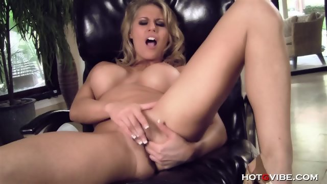 Blonde with big Tits rubs pussy and fingers anal