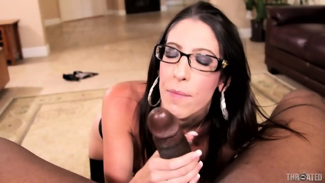 Gorgeous brunette gets a black penis in throat