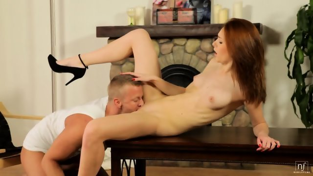 Redhead chick licks his penis and gives himself to fuck