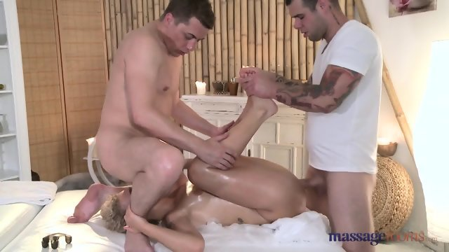 Sex with oiled blonde in massage salon