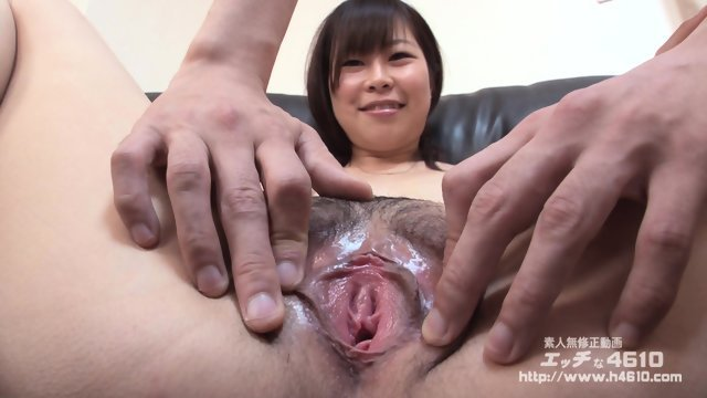 Caresses hairy pussy of Asian girl