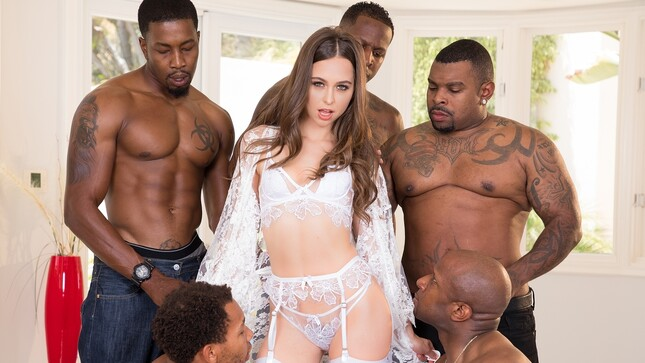 OMG! Riley Reid Interracial Gangbang - Slut Riley and 9 BBC