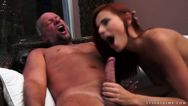 Redhead girl needs to satisfy a man