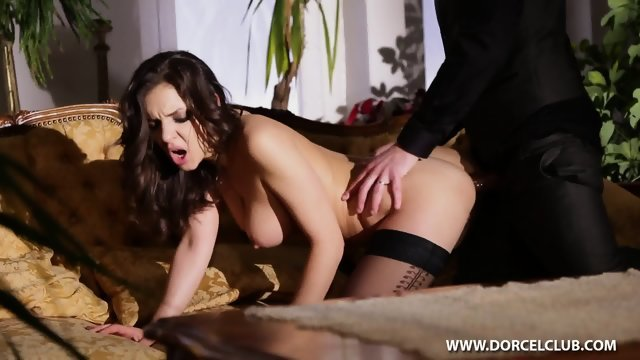 Sex with a stunning girl in black stockings