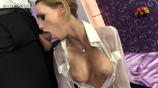 Blonde bitch with big Tits sucks awesome
