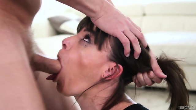 Brunette in stockings makes an elegant throat Blowjob