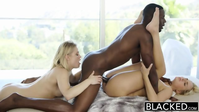 Two blonde Hotties and one black guy